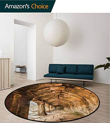 (RUGSMAT Ancient Round Rugs for Bedroom,Sculpture On Wall Non-Slip No-Shedding Kitchen Soft Floor Mat Diameter-51)