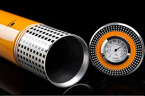 COHIBA/喫煙具/葉巻/シガーチューブ/COHIBA Yellow Cylindrical Travel Cigar Hydrating Tube Humidor With Hygrometer B0778CGT3L