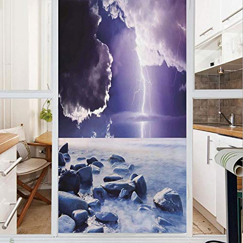 Decorative Window Film,No Glue Frosted Privacy Film,Stained Glass Door Film,Dark Ominous Rain Clouds with Mystic Sky Scenery with Electrical Lightning Photo,for Home & Office,23.6In. by 59In Blue Purp