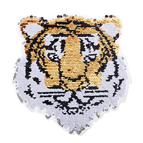 Tiger Reversible Change Color Sequins Sew On Patches for Clothes DIY Patch