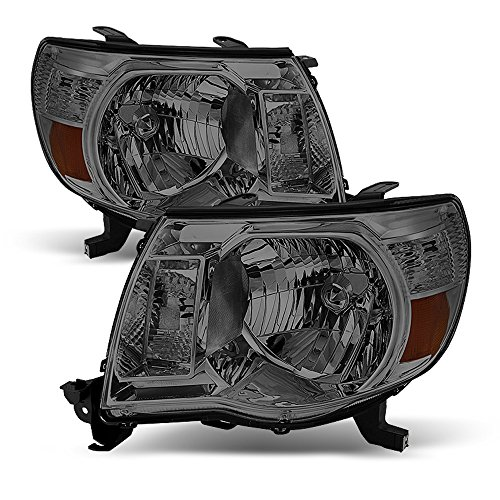 ACANII - For Smoke Lens 2005-2011 Toyota Tacoma Headlights Pre Runner Headlamps 05-11 Set Driver + Passenger Side