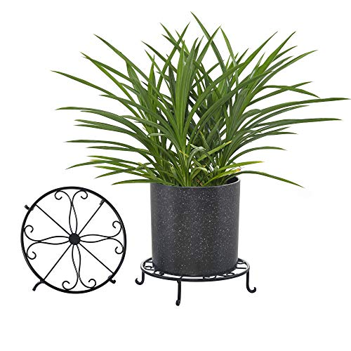 Solid Iron Planter Stand - FaithLand 12 inch Heavy Duty Potted Plant Stands, Set of 2, Art Forged Pot Trivet, Solid Iron Pot Holder Rack for Large Heavy Planter, Decorative Garden Pots Containers Stands, Black