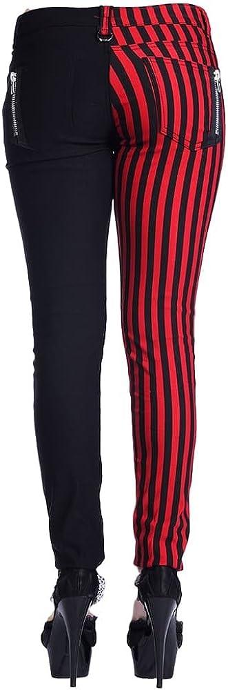 Pantalones Divididos Ajustados Para Mujeres De Banned A Rayas Mitad En Rojo Mitad En Negro Emo Punk Amazon Es Ropa Y Accesorios