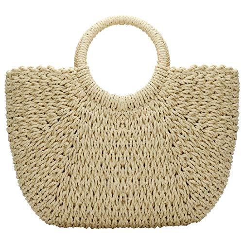Vintage Rattan (Women Large Straw Hobo Handbag Tote Rattan Bag, Summer Vintage Weave Round Beach Bag (Beige))