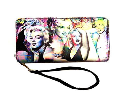 Marilyn Monroe Colorful Collage Wallet with Around Zip Closure (Colorful)