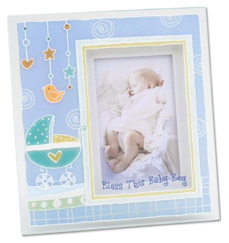 Blue Baby Boy Painted Glass Frame also Perfect for Baptis...