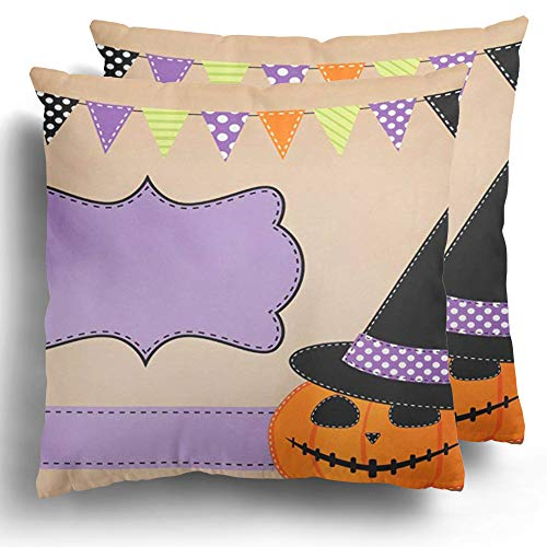 Starohou Throw Pillow Cover 2 Pack Brown Black Pumpkin Jack O Lantern and Witches Hat Bunting Flags Green Polka Autumn Cushion Case for Couch Bed Home Decor 20 x 20 Inches