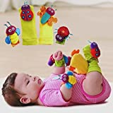 Pink Lizard 4Pcs Baby Infant Kids Cute Animals Rattles Foot Finders Toys Hand Wrist Socks Set