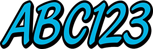 Whipline Solid Sky Blue Black 3  Alpha Numeric Registration Identification Numbers Stickers Decals For Boats   Personal Watercraft