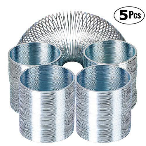 (Bedwina Metal Spring Walking Spring Toy - (5 Pack) Bulk Metal Silver Coil Spring Toys for Party Favors Gifts, Fidget Toy, Stress Relief, Great for Small Party Favor for Kids & Adults)