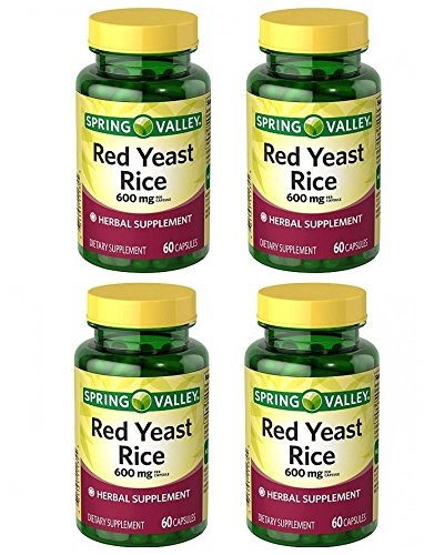 Spring Valley Red Yeast Rice Herbal Supplement, 600 mg Per Capsule X 2 Capsules=1200 mg Per Serving, 4 Bottles of 60 Capsules (4 Pack)