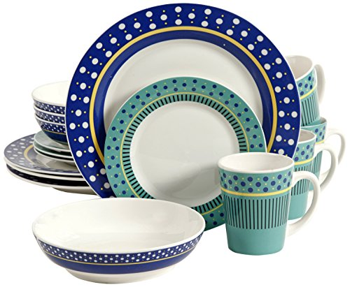 Gibson Overseas, Inc. Gibson Home 92917.16RM Lockhart 16-Piece Dinnerware Set Service for 4, Fine Ceramic, Blue/Green/White, - Gibson Home Lockhart 16-piece dinnerware set including: 4 dinner plates, 4 dessert plates, 4 soup/salad bowls, 4 mugs (9oz) Whimsical polka dot design with touch of color to add the needed pop of color for any tablescapes Dishes made with the finest ceramic providing the needed quality for everyday use - kitchen-tabletop, kitchen-dining-room, dinnerware-sets - 51NzuFseaJL -