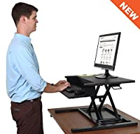 AirRise Pro - Standing Desk Converter | Adjustable Height Pneumatic Stand Up Desk - Sit to Stand with Your Current Desk in Seconds