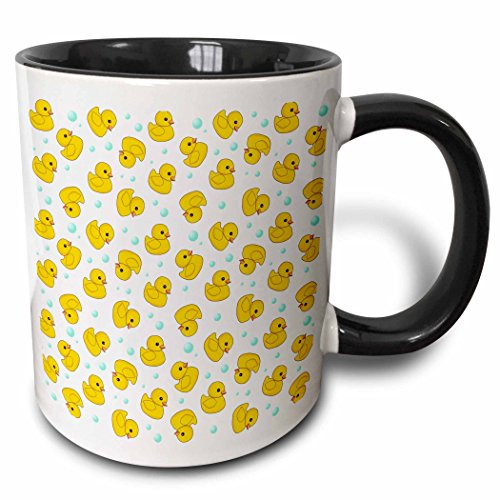 - 3dRose 3dRose Cute Rubber Duck Pattern - yellow ducks - kawaii ducky duckie - duckies and soap bubbles on white - Two Tone Black Mug, 11oz (mug_112951_4), Black/White