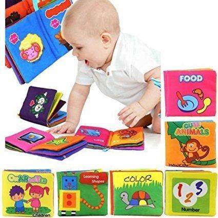 bebé libro de suave paño adecuados durante 3 meses a 3 años de edad los niños, alrededor de 10 x 9 cm (juego de 6) - Versión Inglés Yosoo