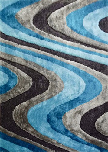 CHIC RUGZ Style 112 Gray Blue Hand Tufted Weave Modern Living Shag Area Rug, 5' x 7' (Chic Hand Tufted Rug)