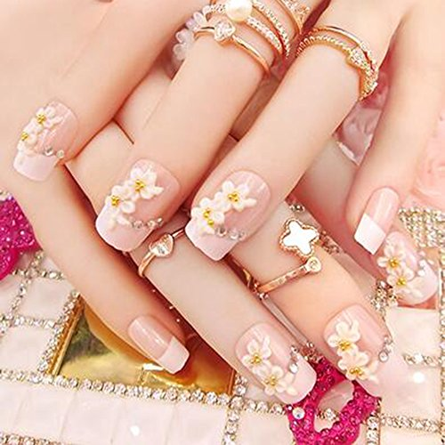 Dongcrystal 24Pcs 3D Bling Nail Art Jewelry Glitter Rhinestone Flower Decor Nail Tips Fake Nails