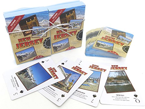 Atlantic Jersey (Atlantic City, , Souvenir Playing Cards , Jersey Shore Vacation Gift. Card Faces Feature Multiple Landmarks, Oustsanding Tourist Gift. The Two Deck Set Includes a Silver Gift Ribbon)