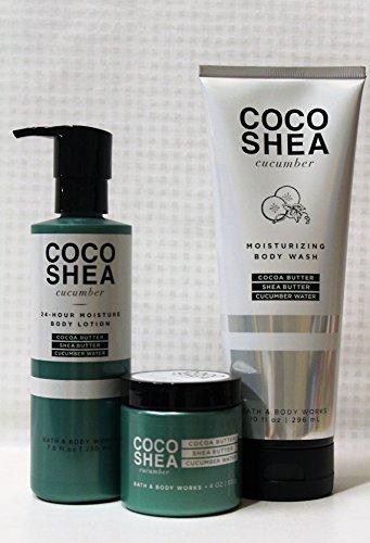 Bath & Body Works - CocoShea - Cucumber - Body Lotion, Revitalizing Cucumber Face Mask & Moisturizing Body Wash ()