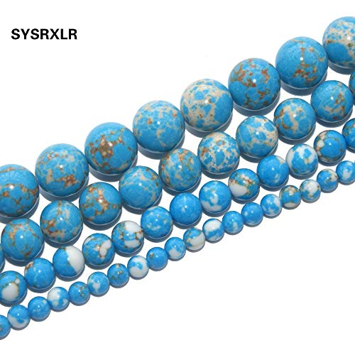 Calvas Lake Blue Imperial Turquoises Synthetic Stone Round Beads for Jewelry Making DIY Bracelet 4 6 8 10 MM Strand 16'' - (Item Diameter: 6mm 60pcs Beads)