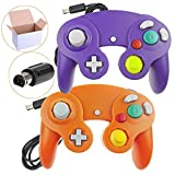 kirby games gamecube - Bowink 2 Packs Classic NGC Wired Controllers for Wii Gamecube (Orange and Purple)