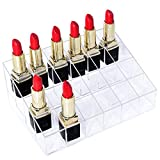 Gospire Clear Acrylic Cosmetic Makeup Organizer Transparent for Lipstick, Brushes, Bottles, and More Clear Case Display Rack Holder 24 Slots (in a 6 x 4 Arrangement)