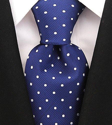 Polka Dot Ties for Men - Woven Necktie - Navy Blue w/White