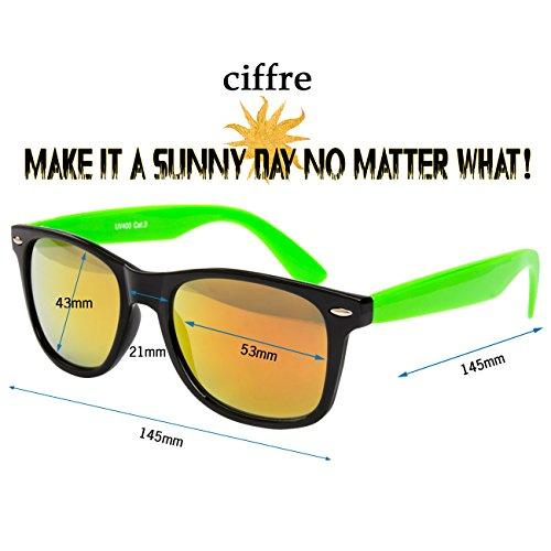 de lunettes et retro Neon lunettes Feuer paire modèles wayfarer soleil style env Verspiegelt soleil coloris Grün Nerd différents vintage Schwarz dimensions pour de clear de disponibles 150 unisexe nR87g