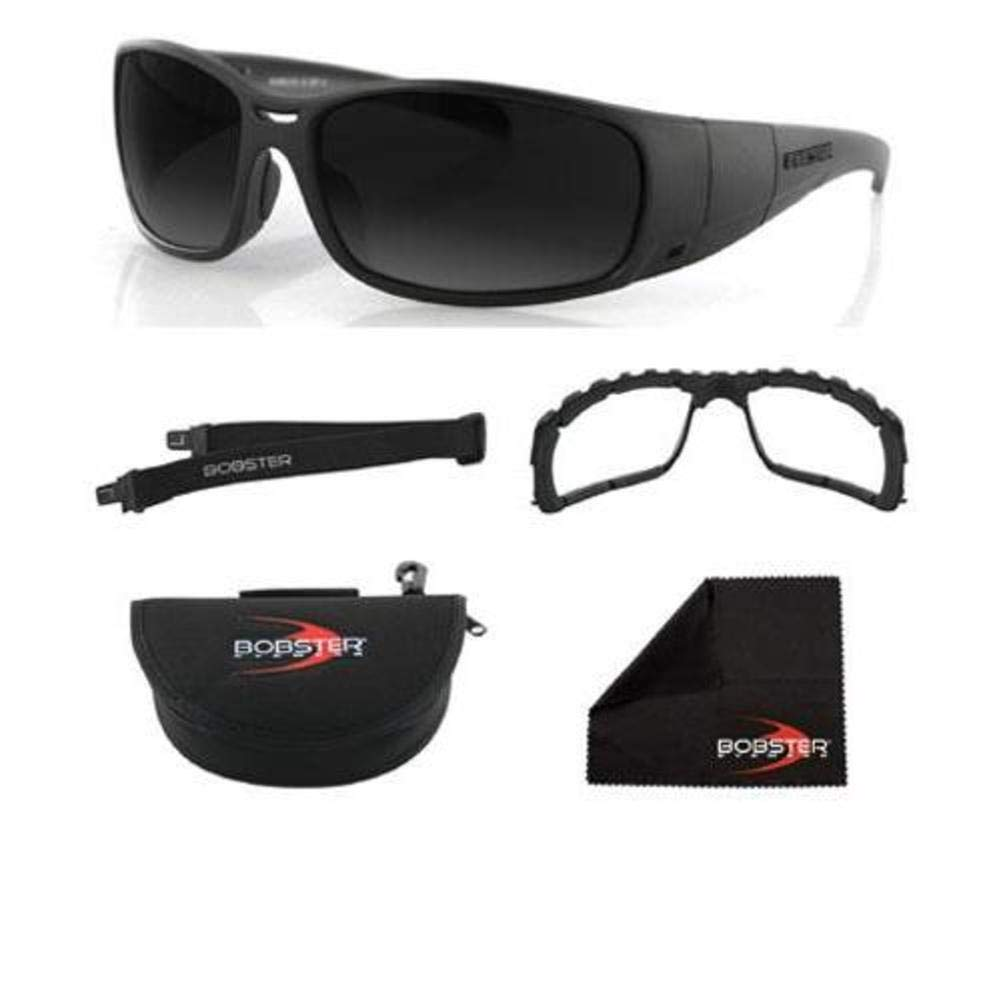 Bobster Ambush 2 Convertible Sunglasses, Black Frame/Smoke & Clear Lens, One Size BAMBU201