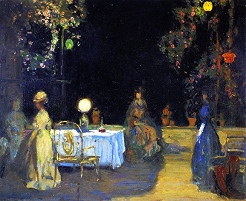 Cutler Miles Night In The Garden In Spain by Charles Conder Hand Painted Oil on Canvas Reproduction Wall Art. 30x24 by Cutler Miles