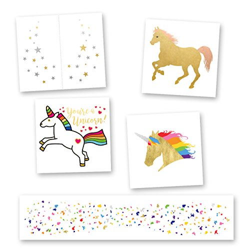 MAGICAL VARIETY SET of 25 assorted colorful Flash Tattoos, premium waterproof metallic gold & multi-colored jewelry temporary foil party tattoos - rainbow colorful tattoo, metallic tat, party supplies