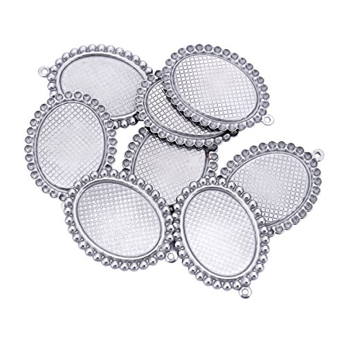 10PCS Stainless Steel Oval Cabochon Charms Jewelry Finding 35mmx25mm
