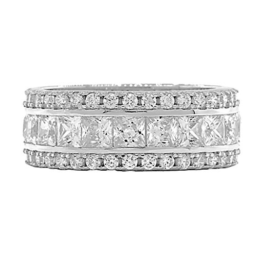 Colorado: 5.85ct Russian Ice on Fire CZ 3 Row Stacked Eternity Band Ring 925 Silver, 3201 sz 7.0