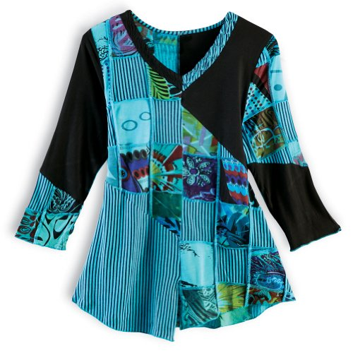 Women's Patchwork Tunic Top - Turquoise Blue & Black Stripes Shirt - 3X