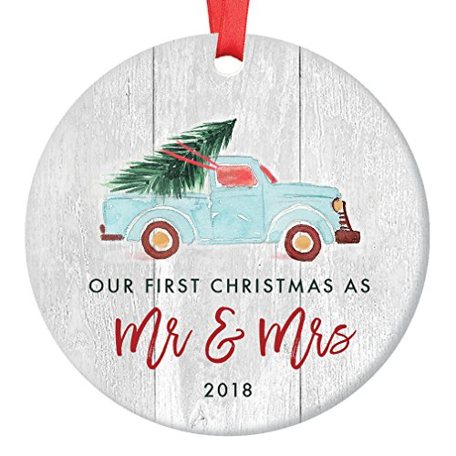 Newlywed Christmas Ornament 2018, First Christmas as Mr & Mrs, Wedding Gift Idea, Blue Pickup Truck Christmas Tree Ceramic Rustic Farmhouse Keepsake 3