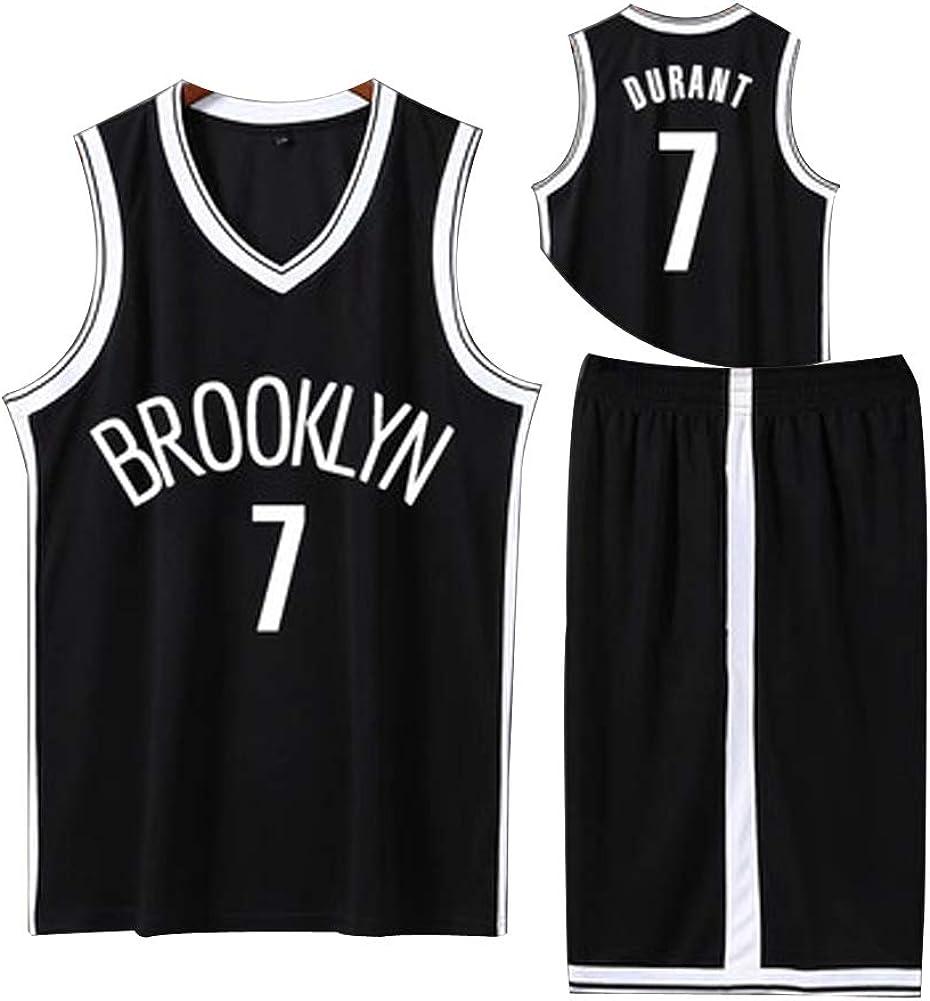 WU Kevin Durant # 7 Brooklyn Nets Camiseta De Baloncesto Verano Sin Mangas Negro Ciudad Bordado Camiseta Deportiva
