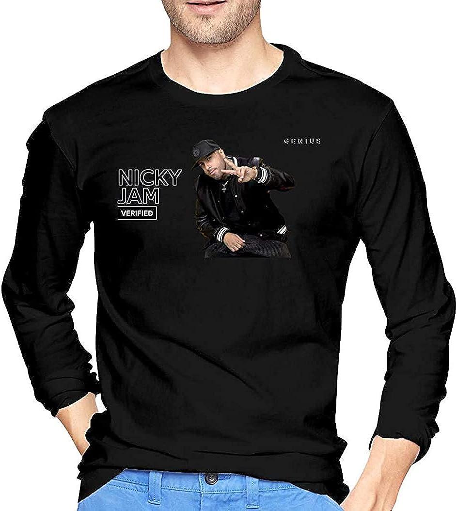 Nicky Jam Soft Mans Tops Camisetas de Manga Larga Negro ...