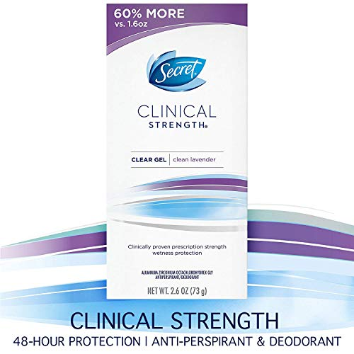 Secret Clinical Strength Antiperspirant Deodorant for Women, Clean Lavendar Scent, Clear Gel, 2.6 Oz