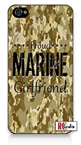 Digital Camouflage Proud Marine Girlfriend Camo Tan iPhone 5C Quality Hard Snap On Case for iPhone 5C - AT&T Sprint Verizon - White Case