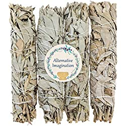 """8.5""""+ Large California White Sage, Each Stick Approximately 8.5 Inches Long and 1.5 Inches Wide for Smudging Rituals, Energy Clearing, Protection, Incense, Meditation, Made in USA (4 - Extra Large)"""