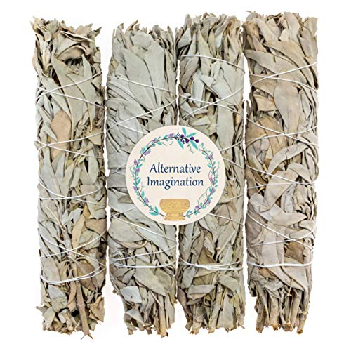 - 4 Premium California White Sage, Each Stick Approximately 8 Inches Long and 1.25 Inches Wide for Smudging Rituals, Energy Clearing, Protection, Incense, Meditation, Made in USA