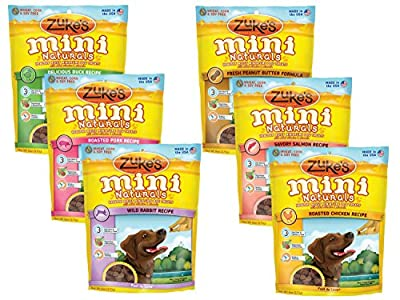 Zuke's Mini Naturals Healthy Moist Dog Treats Variety Pack - 6 Flavors (Roasted Pork, Wild Rabbit, Roasted Chicken, Delicious Duck, Savory Salmon, & Fresh Peanut Butter) - 6 oz Each (6 Total Pouches)