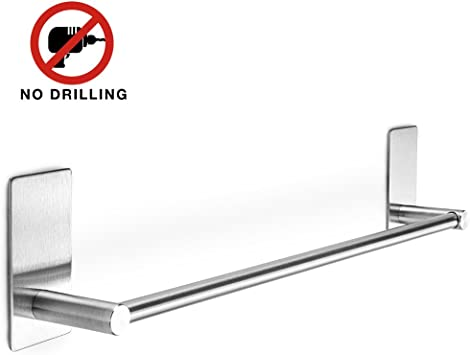 Black Single Towel Bar Wall Mount Stainless steel 304 Rail Rack Holder for Bath