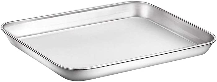 WEZVIX Baking Sheet Stainless Steel Baking Tray Cookie Sheet Oven Pan Rectangle Size 9 x 7 x 1 inch, Non Toxic & Healthy, Rust Free & Less Stick, Thick & Sturdy, Easy Clean & Dishwasher Safe