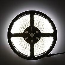 LEDMO Non-Waterproof Flexible LED Strip Lights,DC12V LED Light Strip,LED Tape ,Super Bright 300 Units SMD5050 LEDs,Daylight White 6500K,16.4Ft/5M