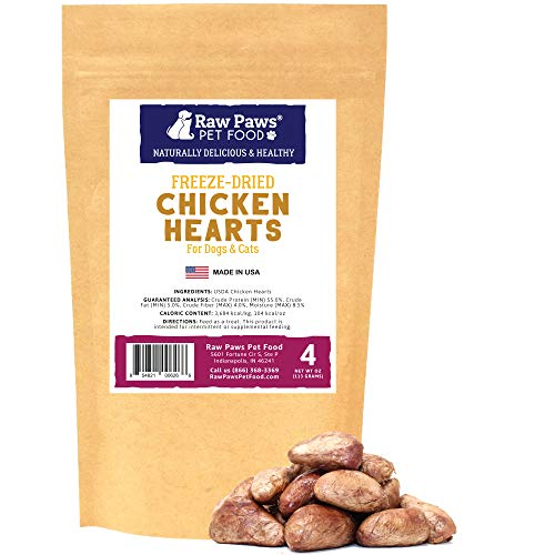 Raw Paws Pet Freeze Dried Chicken Hearts for Dogs & Cats, 4-oz - Human-Grade, USDA Certified Chicken Dog Treats Made in USA Only - Single Ingredient & Preservative Free Raw ()