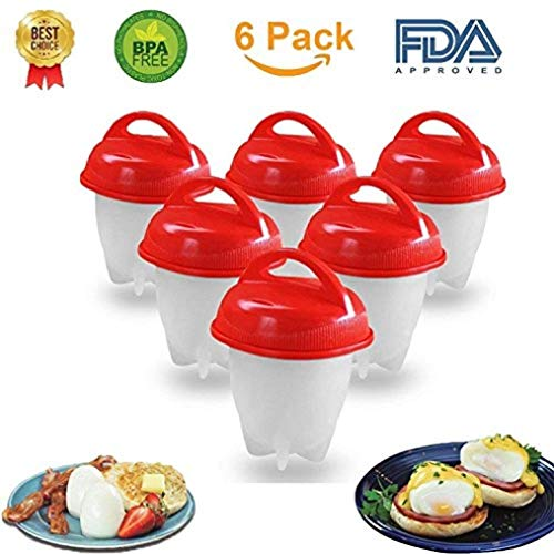 Egg Cooker Hard and Soft Boiled Eggs – BPA Free Non Stick Silicone – No More Egg Shells to Peel, Poacher , Steamer – As Seen on TV by A ()