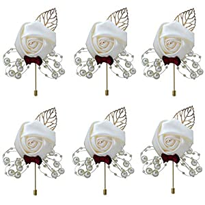 Buery 6 Pieces/lot Wedding Boutonniere Handmade Rose Boutonniere Corsage with Pin, Lapel Pin Rose Wedding Boutonniere for Wedding Prom Party Decor 24