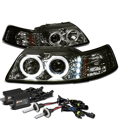 Ford Mustang SN-95 Dual Halo Projector+LED Headlight+6,000K H1 HIDs+Slim Ballasts (Smoke Lens Amber Reflector)