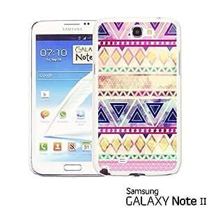 OnlineBestDigital - Geometrical Pattern Hardback Case for Samsung Galaxy Note 2 - Purple Pink Watercolor Aztec Pattern